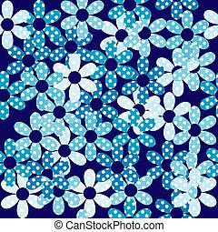 青い花, seamless, 背景, 点を打たれた