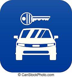 青い車, アイコン, キー, デジタル