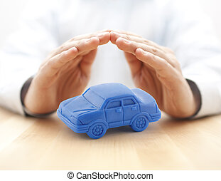 青い車, カバーされた, おもちゃ, 概念, 保険, 手