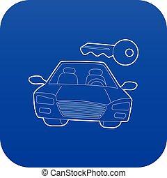 青い車, ベクトル, キーアイコン
