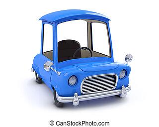 青い車, 上, 3d, 漫画, 光景