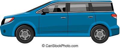 青い車, minivan