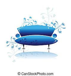 青い長椅子, デザイン