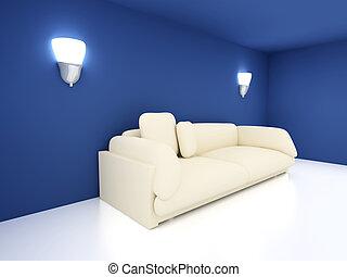 青い長椅子, 部屋