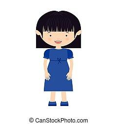青い髪, 女の子, 不足分, 服
