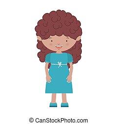 青い髪, 女の子, 波状, 服