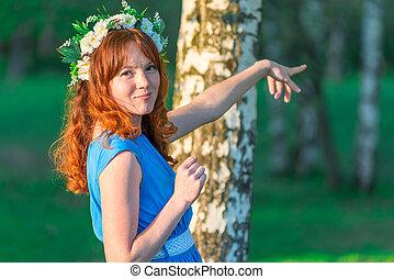 青い髪, 方法, 女の子, 服, 赤, ショー