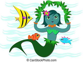 青い魚, 友人, mermaid