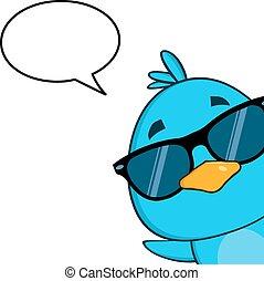 青い鳥, サングラス