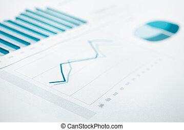 青が引き締めた, ビジネス, チャート, 焦点を合わせなさい。, 精選する, レポート, データ, print.