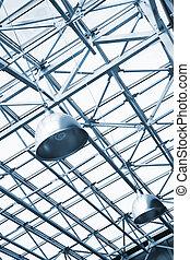 青が引き締めた, 天井, 工業建物, けた, 金属, ガラス, ランプ, 下に