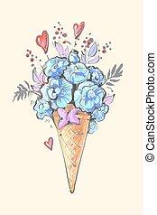 青は去る, イラスト, ベクトル, 氷, 花, 心, 花, クリーム