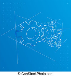 青写真, バックグラウンド。, ギヤ, vector.