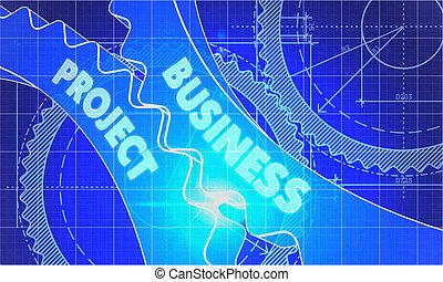 青写真, プロジェクト, concept., gears., ビジネス