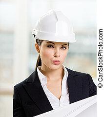 青写真, 懸命に, 女性手, 帽子, エンジニア