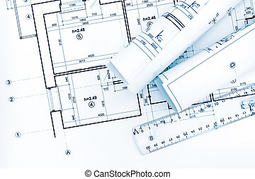 青写真, 計画, 図画, ペーパー, 建築である, 回転する