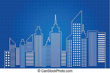 青写真, 都市 スカイライン, 超高層ビル