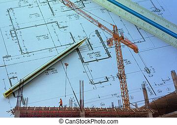 青写真, arcchitecture, 建築現場