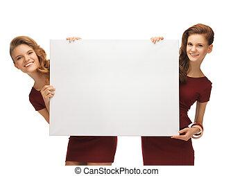 青少年女孩, 二, 紅色, 空白, 衣服, 板