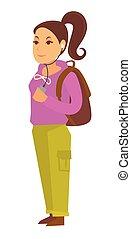 青少年女孩, 在, 頭戴收話器, 以及, 由于, 布朗, 帆布背包