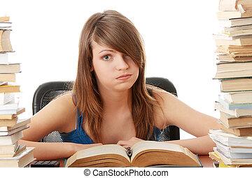 青少年女孩, 學習, 在, the, 書桌, 是, 疲倦