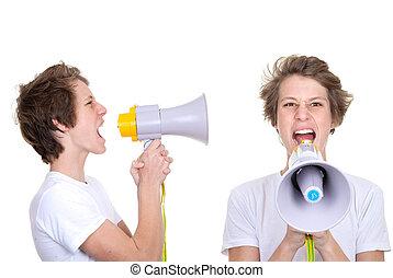 青少年男孩子, 呼喊, 進, megaphone.