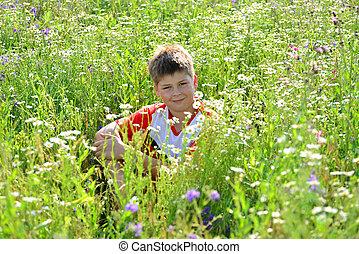青少年男孩子, 坐, 在中間, 草地, 花