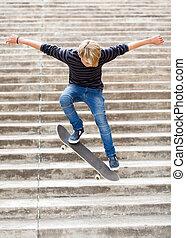 青少年男孩子, skateboarding, 上, 樓梯