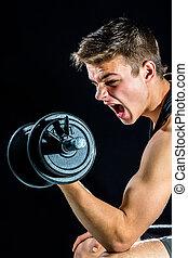 青少年男孩, 身体, 呼喊, workout.