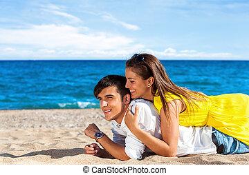 青少年的 夫婦, 上, holiday.