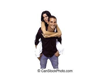 青少年的 夫婦, 在, 背負式運輸