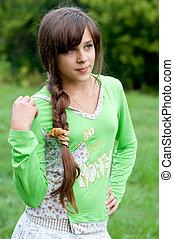 青少年的 女孩, 上, 自然