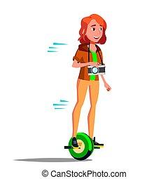 青少年的 女孩, 上, hoverboard, vector., 騎馬, 上, 陀螺儀, scooter., one-wheel, 電, self-balancing, scooter., 積極, person., 被隔离, 插圖