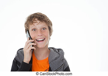 青少年, 上, 細胞, 或者, 移動電話
