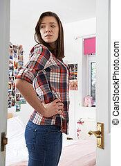 青少年, 反映, 寝室, 担心, 看, 镜子, 女孩