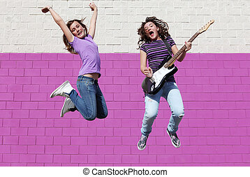 青少年, 吉他, 組, 流行音樂