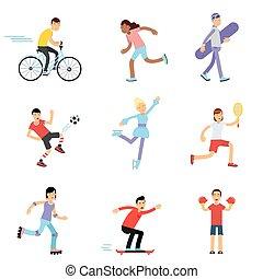 青少年, 嬉戲, 不同, 孩子, 實踐, 活動, 體操, 女孩, 運動, 擔保, 男孩, 矢量, 在戶外, 說明, 卡通, 類別