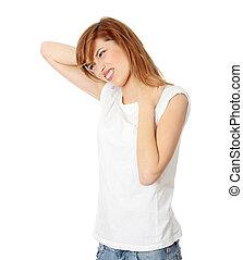 青少年, 學生, 婦女, 由于, 頸項痛苦