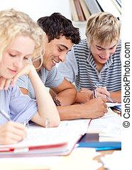 青少年, 學習, 在, the, 圖書館