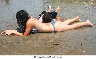 青少年, 放松, 在海灘上
