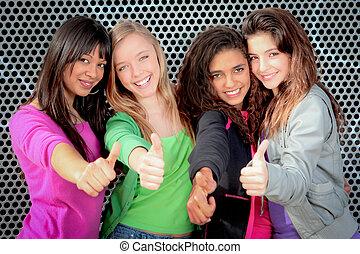 青少年, 显示, 女孩, , 多样化, 拇指, 开心
