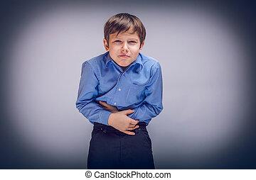 青少年, 男孩, 10, 年, ......的, 歐洲, 出現, 胃疼, ga