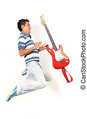 青少年, 跳躍, 由于, 吉他