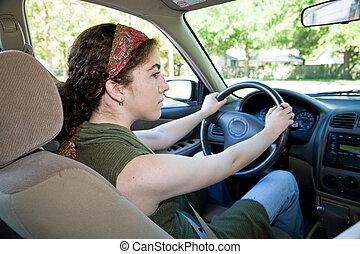 青少年, 駕駛員, 看, 兩個都, 方式