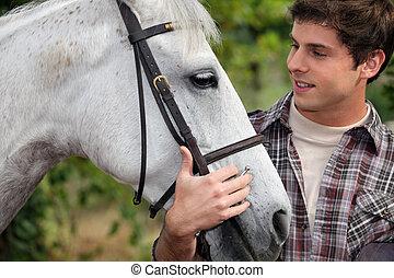 青少年, 马, 打击