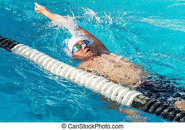 青少年, action., backstroke, 游泳者