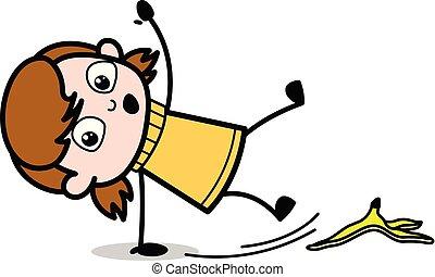 青少年, slipped, 剥皮, -, 描述, 卡通漫画, 矢量, retro, 女孩, 香蕉
