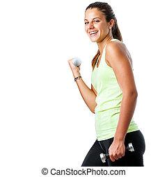 青少年, workout., 女孩, 开心, 健身