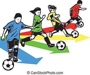 青年, サッカー, ドリル