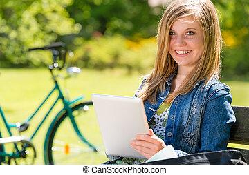 青年, タブレット, 公園, コンピュータ, 使うこと, 女の子
